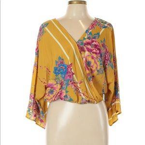 FLYING TOMATO floral yellow kimono cropped top